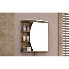 Armário para Banheiro 1 Porta Duna com tecla tomada e LED 60cm - Bosi - Nogal/Branco