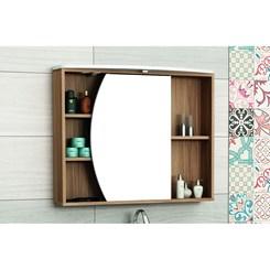 Armário para Banheiro 1 Porta Duna com tecla tomada e LED 80cm - Bosi - Nogal/Branco