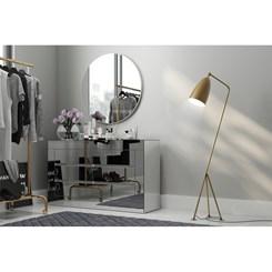 Balcão 125 cm C/ 6 Gavetas - Dalla Costa - Branco Brilho/Espelho