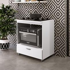 Balcão para cooktop 5 bocas e forno Completa Móveis Branco