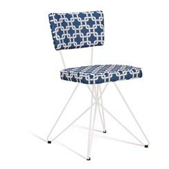 Cadeira Butterfly Retro - DAF - Suede Azul/Branco