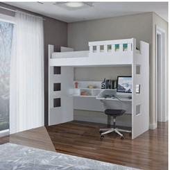 Cama Alta com Escrivaninha e Grade de Proteção U231623 Branco Foscarini