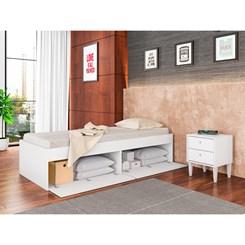 Cama De Solteiro Com 4 Portas Tókio - Art In - Branco