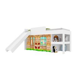 Cama Infantil 80 com Escorregador E Cortina Playground Meu Fofinho - Art In - Branco
