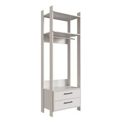 Closet CLA1002 com Gavetas e Cabideiro Completa Móveis Off White