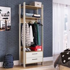 Closet CLA1002 com Gavetas e Cabideiro Completa Móveis Off White / Itapuã