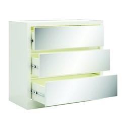 Cômoda com 3 gavetas espelhadas Dalla Costa Off white