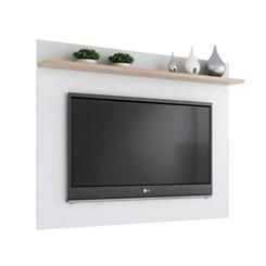 Conj. Rack Estante Painel p/ TV até 50 pol. 2038 - Quiditá - Branco/Siena