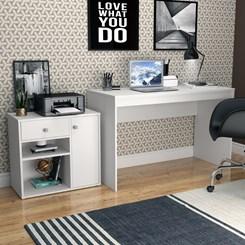 Conjunto Mesa e Armário Home Office - Nova Mobile - Branco