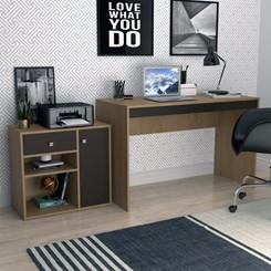 Conjunto Mesa e Armário Home Office - Nova Mobile - Mel e Preto