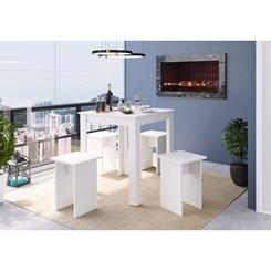 Conjunto Mesa e Banqueta Amalfi - Art In - Branco