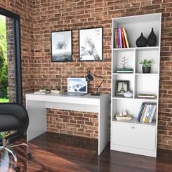 Conjunto Mesa e Livreiro Home Office - Nova Mobile - Branco