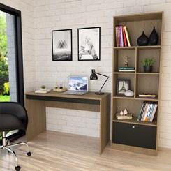 Conjunto Mesa e Livreiro Home Office - Nova Mobile - Mel e Preto