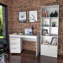 Conjunto Mesa, Gaveteiro e Livreiro Home Office - Nova Mobile - Branco