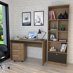 Conjunto Mesa, Gaveteiro e Livreiro Home Office - Nova Mobile - Mel e Preto