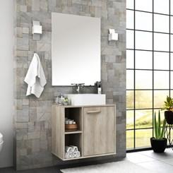 Conjunto para banheiro com espelheira e gabinete com cuba Anne Bosi Barrique