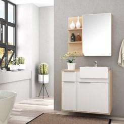 Conjunto para Banheiro com Espelheira e Gabinete com Cuba Jazz 80cm - Bosi - Faia/Branco