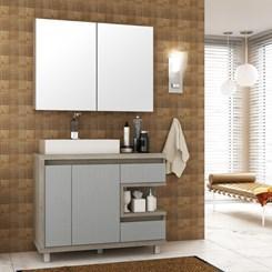 Conjunto para Banheiro com Espelheira e Gabinete com Cuba Malbec 100cm - Bosi - Barrique/Argento