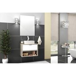 Conjunto para Banheiro com Espelheira e Gabinete com Cuba Malta 60cm - Bosi - Barrique/Branco Brilho