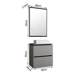 Conjunto para Banheiro com Espelheira e Gabinete com Cuba Urban 60cm - Bosi - Argento/Preto