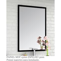 Conjunto para Banheiro com Espelheira e Gabinete com Lavatório Pietra 60cm - Bosi - Preto/Preto Bril