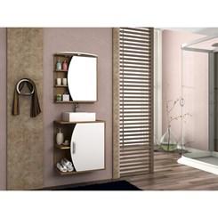 Conjunto para Banheiro com Gabinete, Cuba e Espelheira 60cm Duna - Móveis Bosi - Nogal/Branco