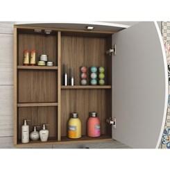 Conjunto para Banheiro com Gabinete, Cuba e Espelheira 80cm Duna - Móveis Bosi - Nogal/Branco