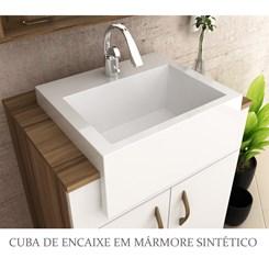 Conjunto para Banheiro Espelheira com Tecla e LED Gabinete com cuba Lara 60cm - Bosi - Nogal/Branco