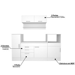Cozinha Compacta Completa Marajó com 6 PT 2 GV - Nova Mobile - Branco
