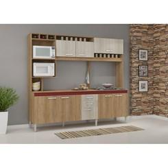 Cozinha Compacta HELEN com tampo  - Fellicci -  Carvalho/Blanche/Bordô