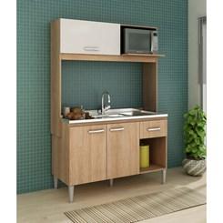 Cozinha Compacta SARAH sem tampo  - Fellicci -  Carvalho/Branco