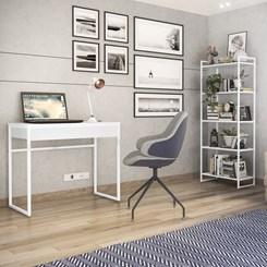Escrivaninha e Estante Estilo Industrial Brisa Novabras Branco/Branco