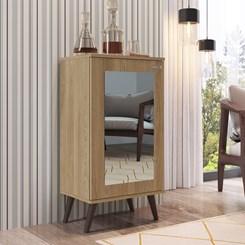 Estante com Pés Retrô 1 Porta com Espelho EST120 Completa Móveis Oak