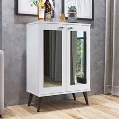 Estante com Pés Retrô 2 Portas com Espelho EST130 Completa Móveis Branco