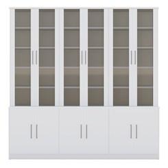 Estante De Livros 12 Portas com Portas Sup. Vidro Fume 128712 Branco Foscarini