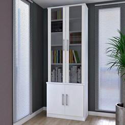 Estante De Livros 4 Portas com Portas Sup. Vidro Fume 12771279 Branco Foscarini