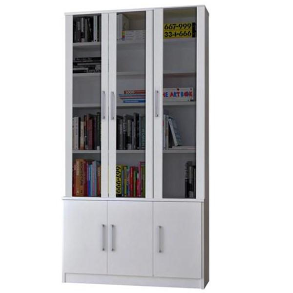 Estante De Livros 6 Portas com Portas Sup. Vidro Fume 12801282 Branco Foscarini