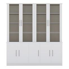 Estante De Livros 9 Portas com Portas Sup. Vidro Fume 127612 Branco Foscarini