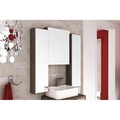 Gabinete e basculante para Banheiro com Cuba e 03 Armários 100cm Vegas - Móveis Bosi - Nogal Málaga/