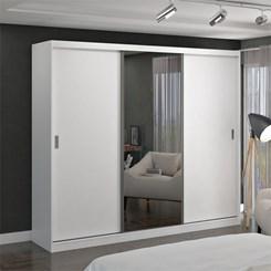 Guarda-Roupa 3 Portas De Correr Com 1 Espelho 7318E1 Branco Foscarini