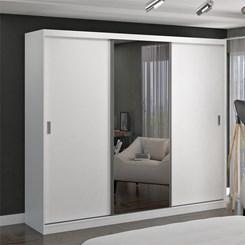 Guarda-Roupa 3 Portas De Correr Com 1 Espelho 7320E1 Branco Foscarini