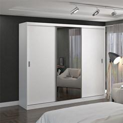 Guarda-Roupa Casal 3 Portas De Correr Com 1 Espelho 774E1 Branco Foscarini