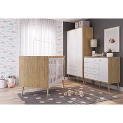 Guarda Roupas Infantil 3 Portas Pés Palito Completa Móveis Itapuã com Branco