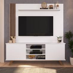 Home7 BR118/EST200 Para TV até 60 Pol. 2 Portas CRM Branco/Madeirado
