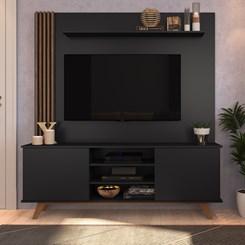 Home7 BR118/EST200 Para TV até 60 Pol. 2 Portas CRM Preto/Madeirado