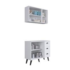 Kit Cozinha com 5 Portas 3 Gavetas Retro Mia Coccina - Art In - Branco