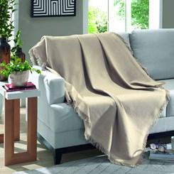 Manta de algodão Marrocos Dohler Liso Bege