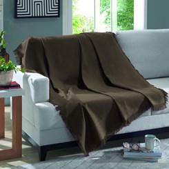Manta de algodão Marrocos Dohler Liso Marrom