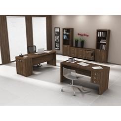 Mesa de escritório com 3 gavetas Tecno Mobili Nogal