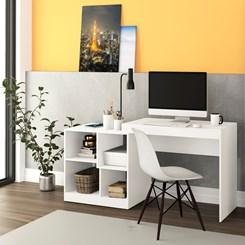 Mesa escrivaninha com 4 nichos ME403 - DJD - Branco